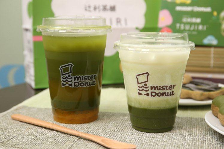 Mister Donut與辻利茶舖聯名推出「辻利抹茶歐蕾」、「辻利芒果冰茶」。記...