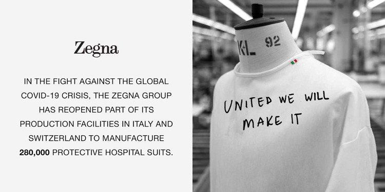Zegna昨日在instagram宣佈,將協同瑞士與義大利的廠商,目標將生產28...
