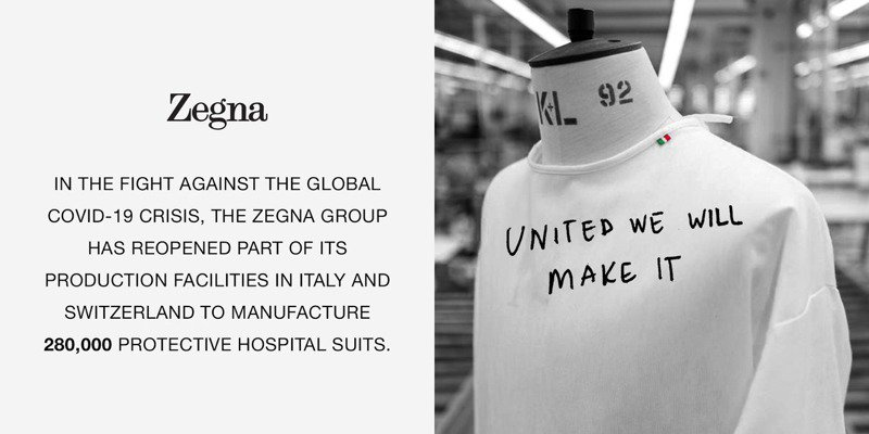 Zegna昨日在instagram宣佈,將協同瑞士與義大利的廠商,目標將生產28萬件醫療級防護衣。圖 / 翻攝自 ig @Zegna。