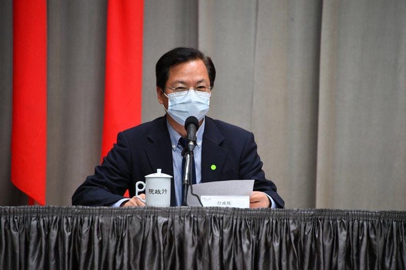 行政院今舉辦「行政院紓困振興記者會」,政務委員龔明鑫出席。 圖/行政院提供