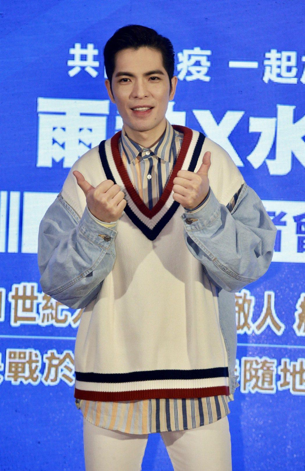 藝人蕭敬騰出席水神公益活動宣傳防疫。記者黃義書/攝影