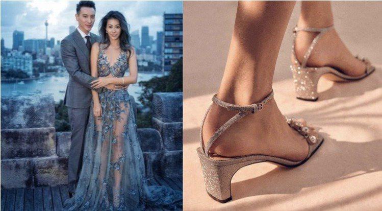 蔡詩芸結婚時搭襯的經典Sergio Rossi美人魚鞋款、sergio ross...