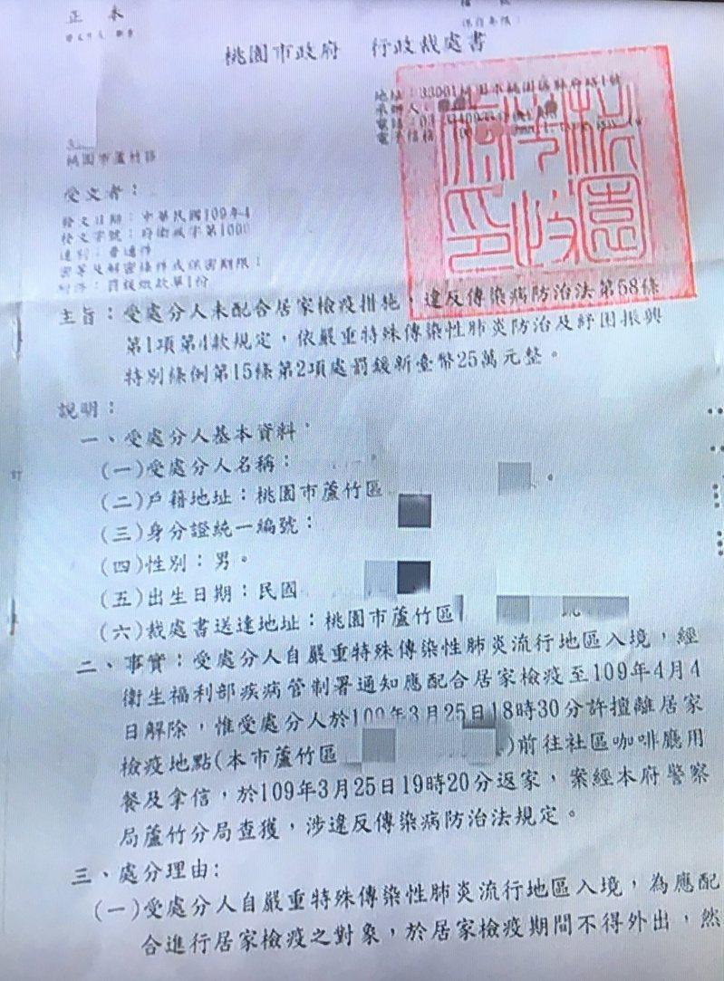 蘆竹有居家檢疫者違規外出到社區樓下用餐、拿信,違規50分鐘被裁罰25萬元。圖/市議員褚春來提供