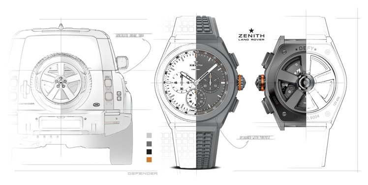 ZENITH DEFY 21 Land Rover特別版聯名限量腕表設計草稿。
