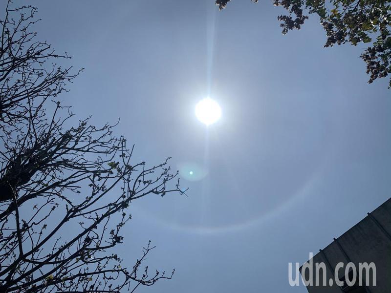 台南中午出現日暈奇景。記者吳淑玲/攝影