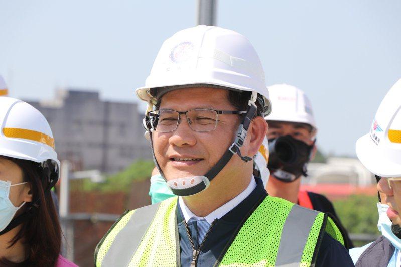 交通部長林佳龍今出席淡江大橋主塔奠基典禮。記者吳亮賢 / 攝影