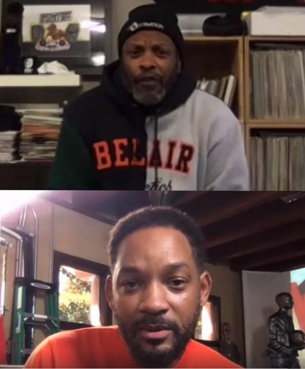 威爾史密斯(下)視訊訪問昔日音樂表演的搭檔DJ Jazzy Jeff。圖/摘自臉...