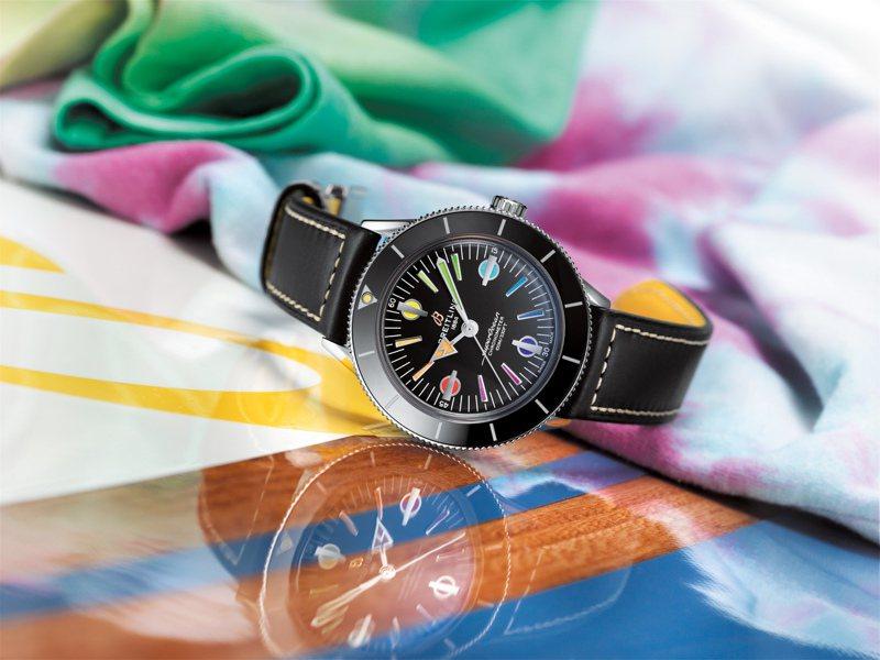 百年靈今年新款的Superocean Heritage 57限量款,彩虹時標跳脫過往陽剛氣息,並將僅於專賣店販售。圖 / Breitling提供。