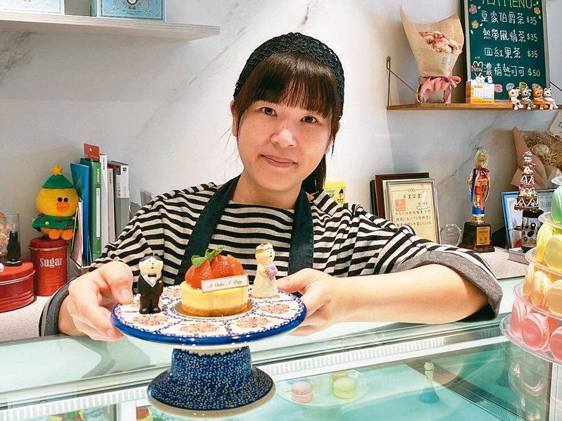 甜點師劉偉苓回鄉開設「A Cake A Day一天只做一個甜點的甜點店」,除了販售限量甜點,也有烘焙課程。 記者劉星君/攝影