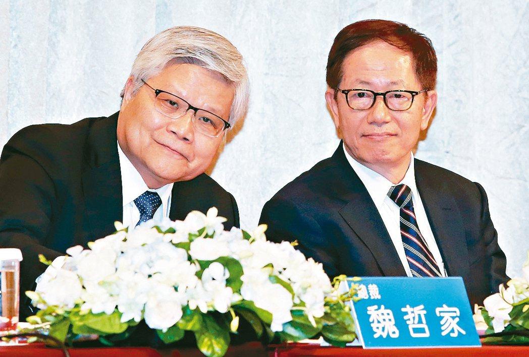 台積電總裁魏哲家(左)與董事長劉德音