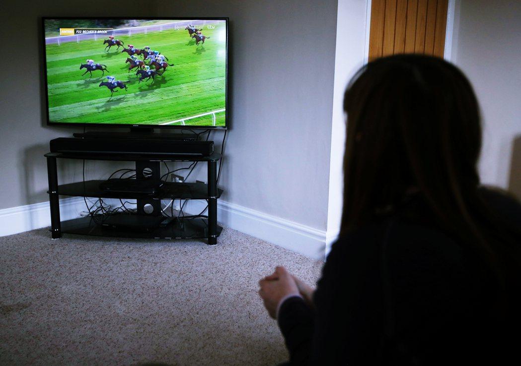 圖為英國Grand Nation的虛擬賽馬。 圖/法新社