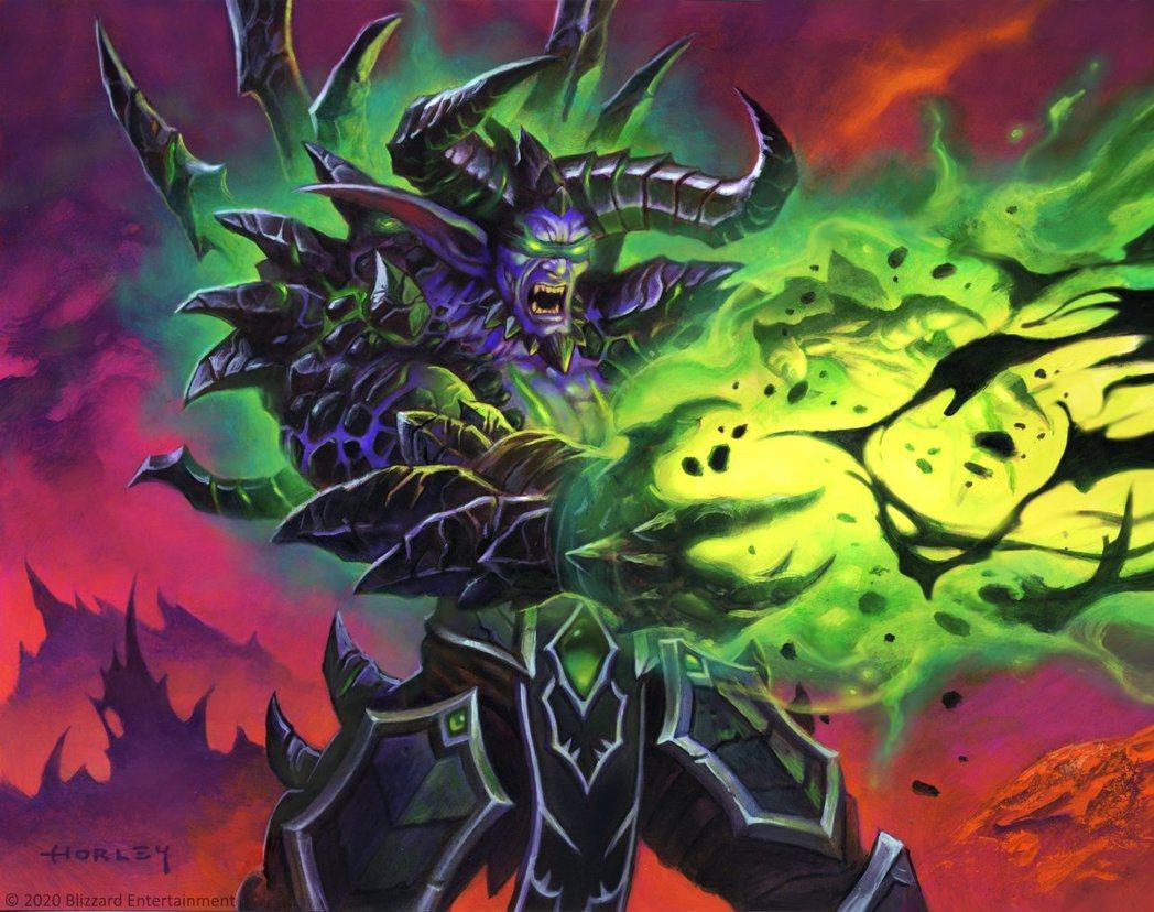 魔化金身的伊利丹,此為爐石《外域之燼》卡牌「惡魔化身」的美術圖