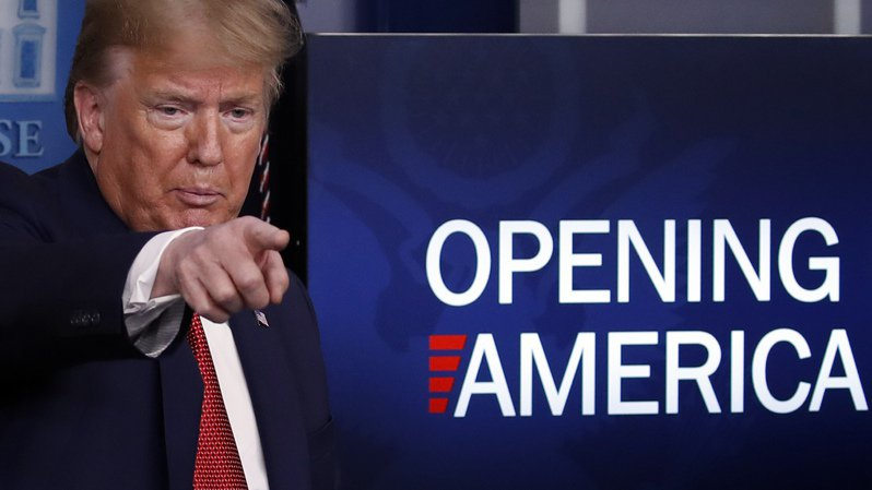 美國總統川普說,有29個州很快就可重新開放。  美聯社