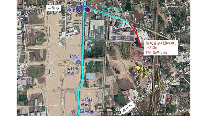 台南市府投入6千4百萬元整治麻豆工業區周邊防洪工程。圖/水利局提供