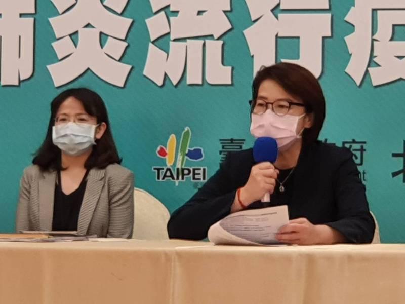 台北市副市長黃珊珊上午參加疫情會議後受訪。記者楊正海/攝影