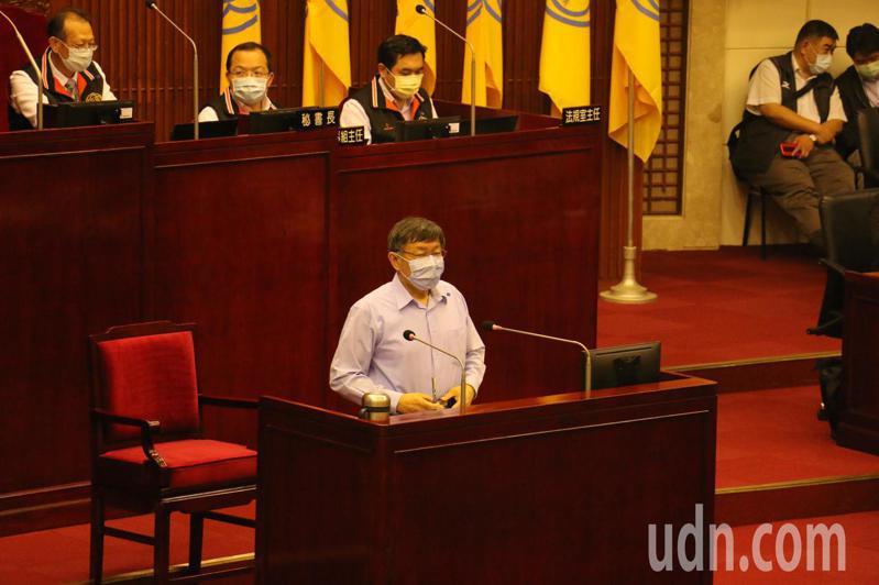 台北市長柯文哲下午赴議會備詢。記者楊正海/攝影
