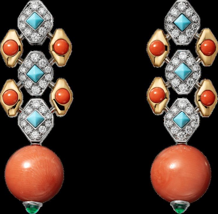 Cartier,Faranda珊瑚耳環,鉑金、黃K金,鑲嵌兩顆共重22.58克拉...