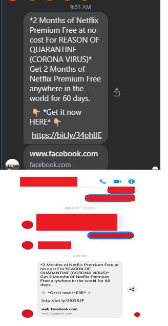 不肖份子透過Facebook Messenger發送釣魚詐騙訊息。趨勢/提供