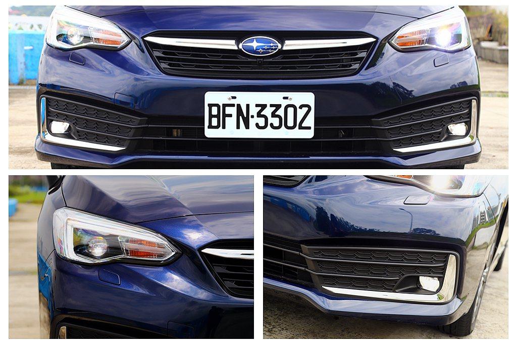 小改款Subaru Impreza頭燈導入品牌C型光條辨識設計,原銀色環繞的六角...