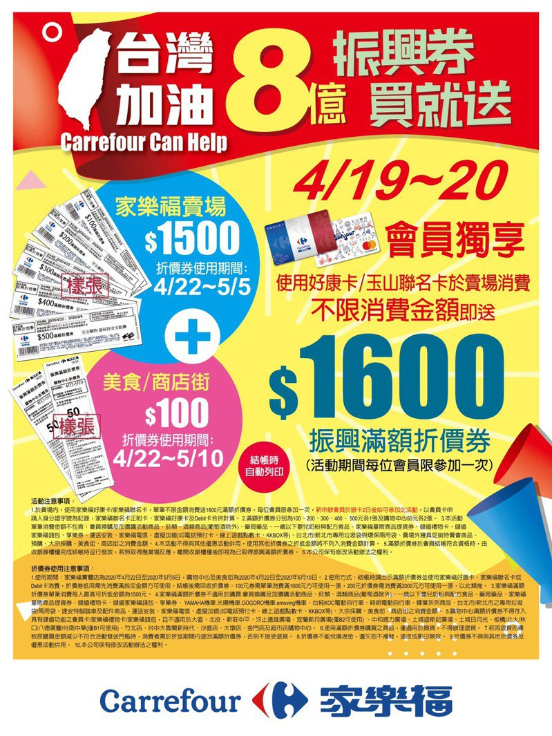家樂福宣布4月19、20日在全台賣場推出「台灣加油WE CAN HELP」購物優惠方案,家樂福卡友消費1元以上就送1,600元滿額振興券。圖/家樂福提供