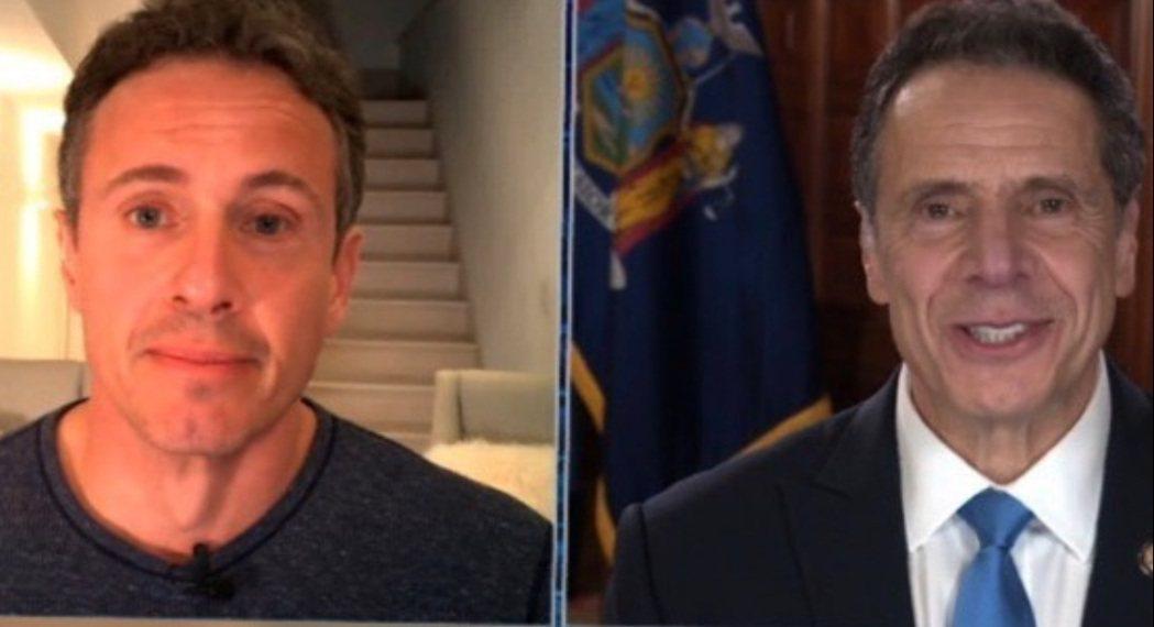 紐約州長安德魯古莫(右)與CNN主播克里斯古莫,兄弟鬥嘴的畫面掀起熱烈反應。圖/...