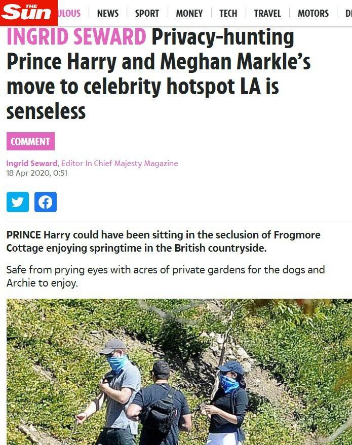 哈利與梅根被拍到以圍巾遮住口鼻上街。圖/摘自The Sun