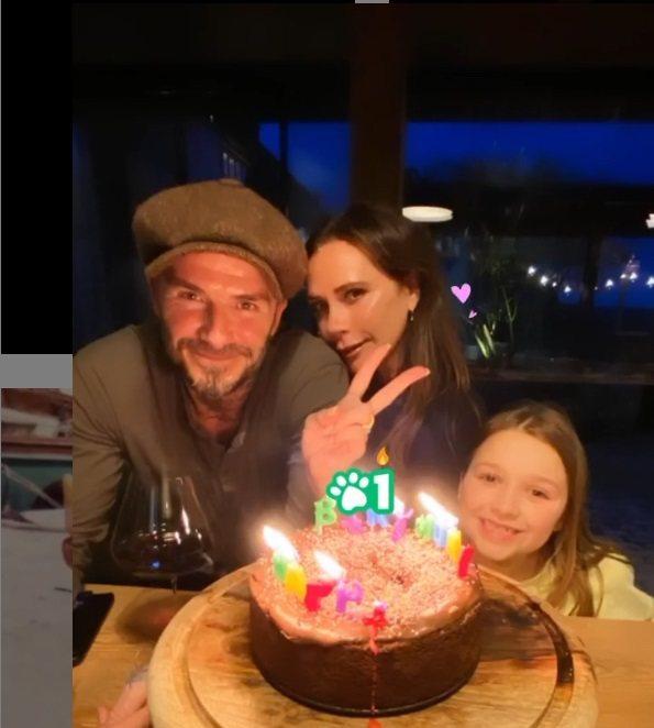 大衛貝克漢與女兒哈珀一起祝維多莉亞生日快樂。圖/摘自Instagram