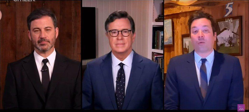 美國3大脫口秀主持人吉米基墨(左起)、史蒂芬荷伯以及吉米法倫破天荒首度合作主持。...