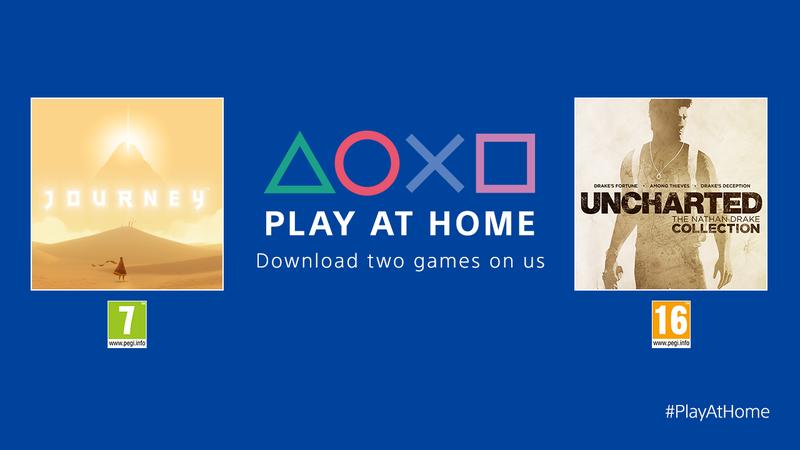 Sony推出「Play At Home」活動,提供兩款熱門遊戲限時免費下載。圖/SIE提供
