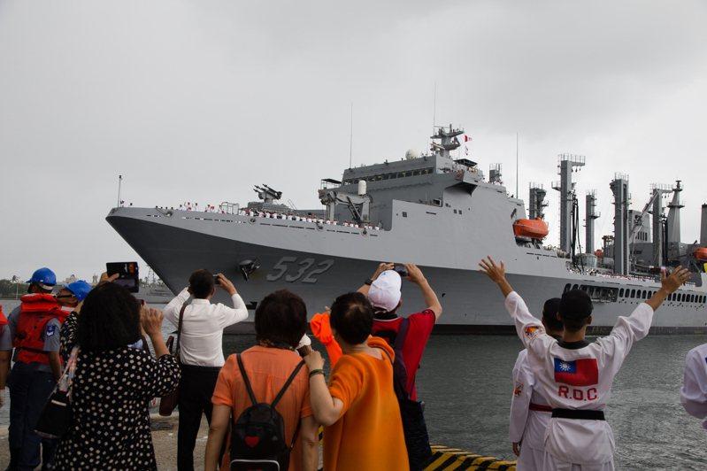 敦睦遠航是海軍超過半世紀傳統,圖為2018年敦睦艦隊旗艦「磐石」號返回左營港。圖/軍聞社