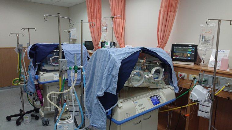 澄清醫院中港院區新生兒加護病房給予女嬰支持性療法,讓她的保溫箱保持幽暗環境,並降...