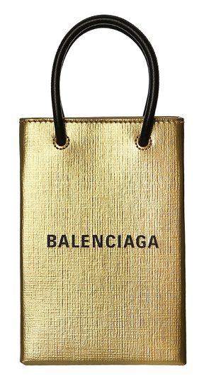 微風獨家-balenciaga shopping phone holder金色手機包,推薦價29,900元。 圖/微風提供