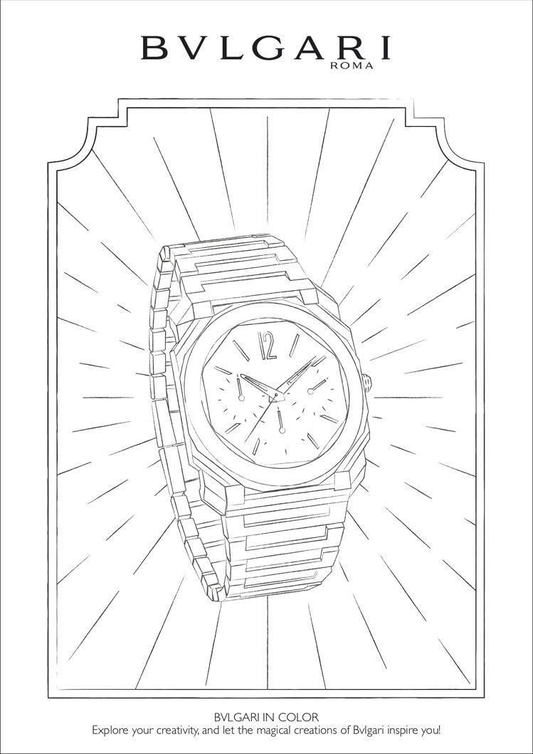 寶格麗著色圖案之一OCTO腕表。圖/取自寶格麗官網