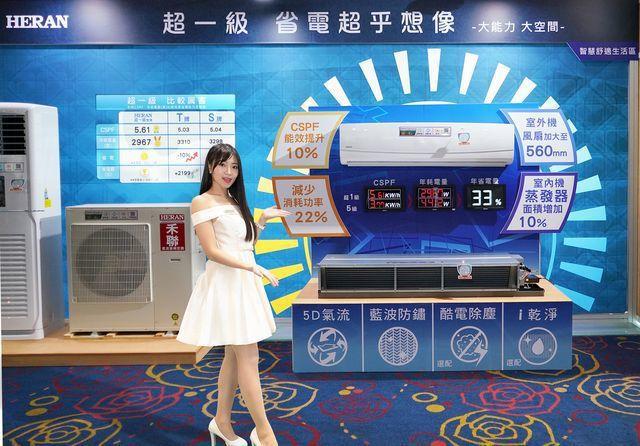 禾聯碩公司推出業界最大超一級變頻空調。 禾聯碩/提供
