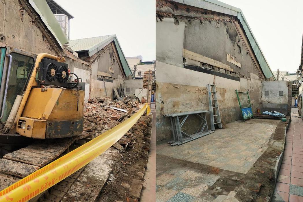 左:4月19日拆除現場;右:4月20日古建材已遭清除。 圖/作者自攝
