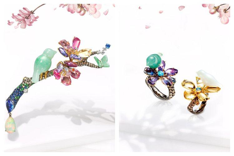 林曉同珠寶《青鳥花雨夜》系列推出「落櫻繽紛」高級珠寶胸針新作。圖/林曉同珠寶提供
