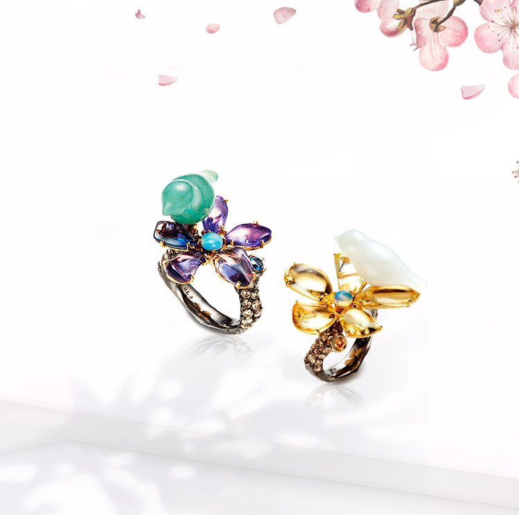 林曉同珠寶《青鳥花雨夜》戒指,各43萬6,000元。圖/林曉同珠寶提供