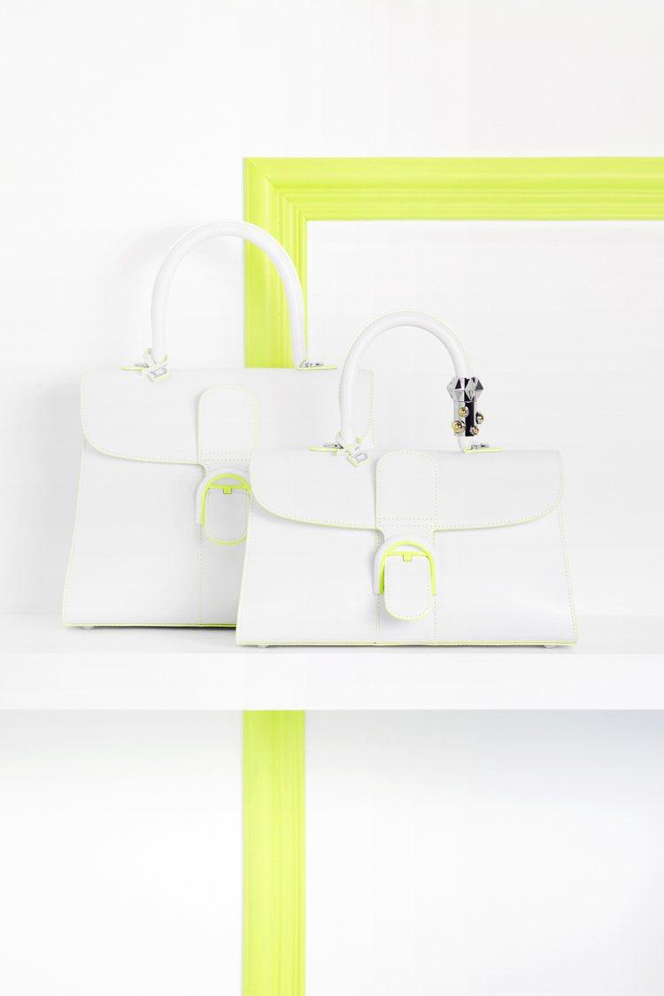 Brillant春季新款光亮白緄邊青檸綠牛皮中型肩背手提包19萬7,600元、寬...
