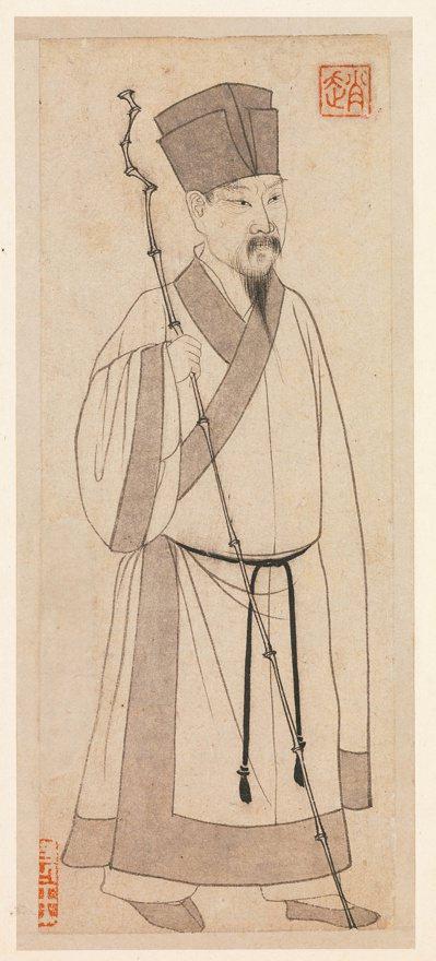 元趙孟頫所繪的蘇東坡畫像。 圖/國立故宮博物院提供