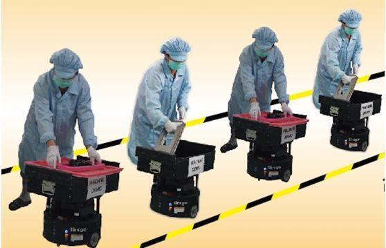 透過多台搬運機器人,組成離散且虛擬輸送帶。 台灣塔奇恩/提供