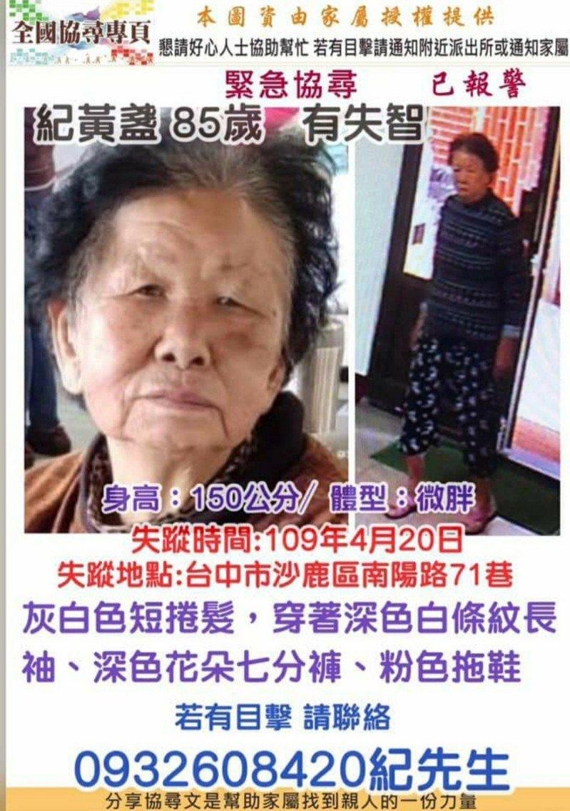 台中市沙鹿區一名85歲阿嬤走失,家屬急找人。圖/家屬提供