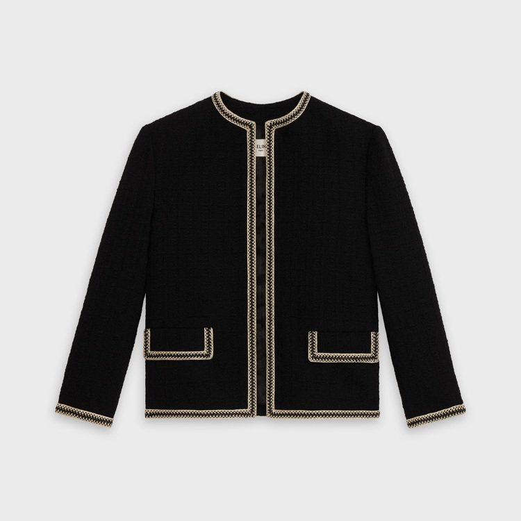 黝黑色粗花呢羊毛獵裝外套,售價95,000元。圖/CELINE BY HEDI ...
