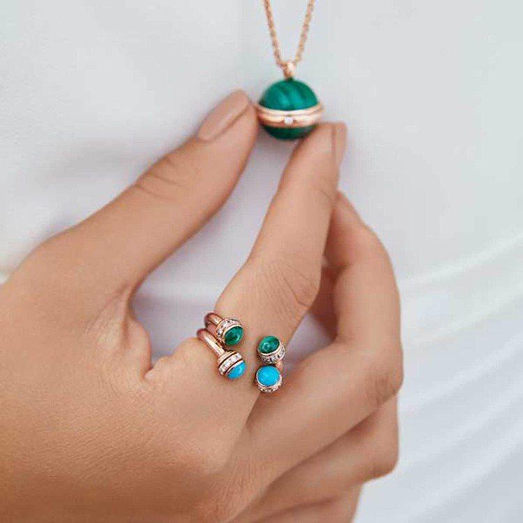 PIAGET的Possession系列戒指,可疊加搭配,創造豐富色彩視覺。圖 /...