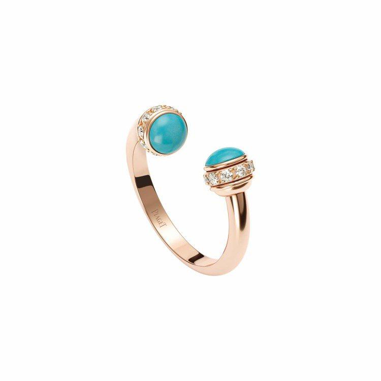PIAGET,Possession戒指,18K玫瑰金,鑲飾20顆圓形鑽石與2顆綠...