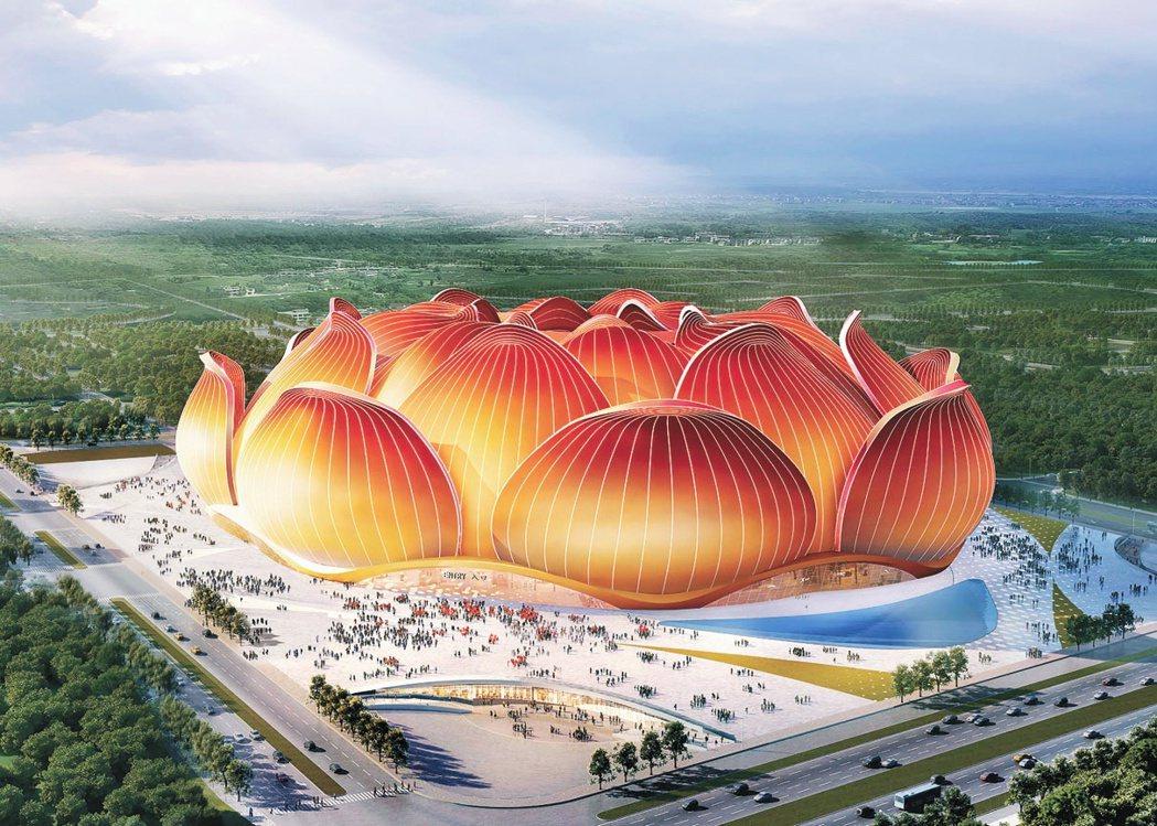 圖為廣州恆大預計建設的「世界最大專業足球場」設計概念圖。許家印不會在乎建築學教授...