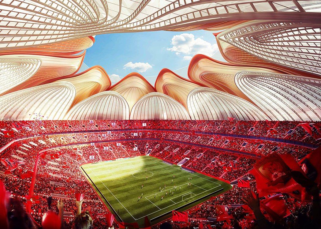 恆大廣州球場設計概念圖的內部圖,蓮花造型的主場象徵中國特色,這是習近平時代整個中...