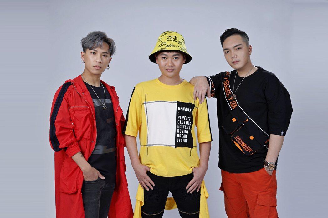 男團「Xunday」成員威威(左起)、西瓜和秦天。圖/尬音樂提供