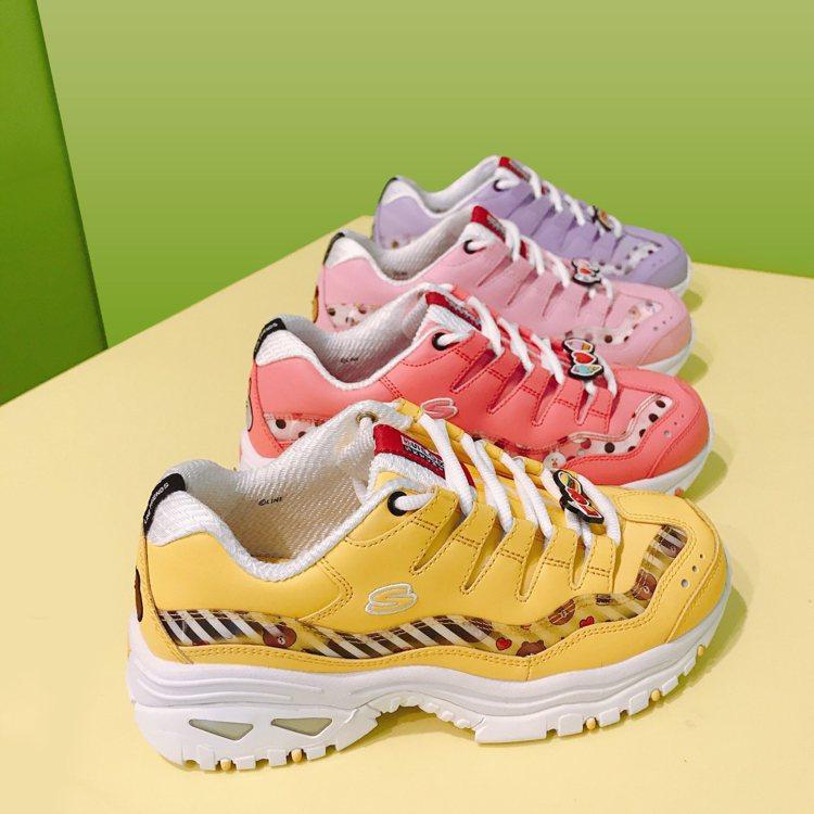 SKECHERS聯名LINE FRIENDS鞋款,6月上市,採取預購中。圖/SK...