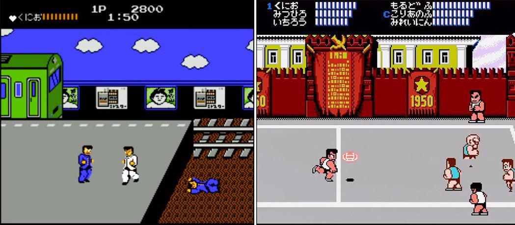 在熱血物語發售前的兩款熱血系列遊戲:熱血硬派(圖左)和熱血高校躲避球(圖右)。