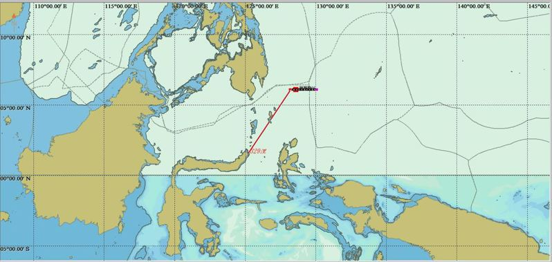 我國琉球籍漁船「勝騰群66號」(CT3-2362)漁船,被印尼公務船以非法捕魚為由,扣至距這艘漁船最後船位西南方330浬的印尼畢棟港(Bitung)。